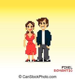 couple, pixel, romantique