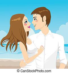 couple, plage, étreindre