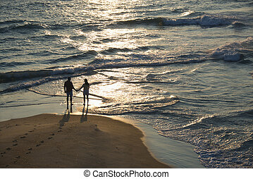 couple, plage., aérien