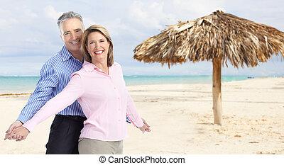 couple, plage., antilles, personne agee, heureux