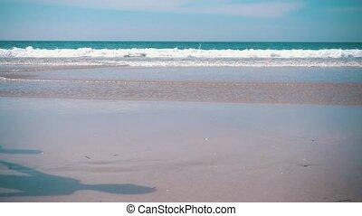 couple, plage, courant, heureux