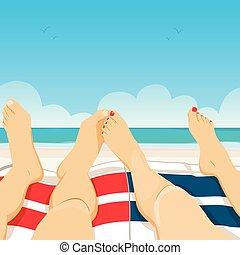 couple, plage, délassant