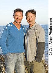 couple, plage., gay, heureux