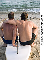 couple, plage., gay