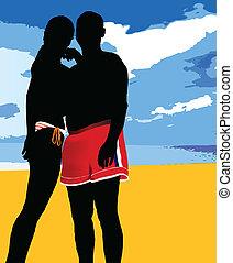 couple, plage, illustration