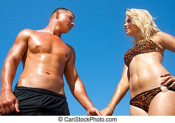 couple, plage, jeune