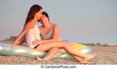couple, plage, jeune, séance