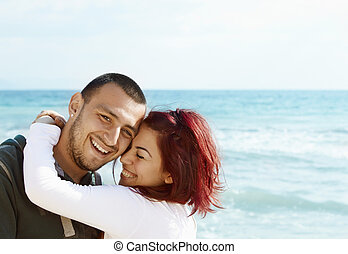 couple, plage, jeune, turc