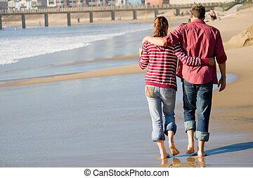 couple, plage, marche
