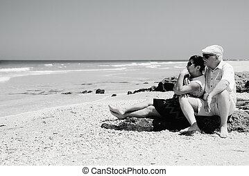couple, plage, personne agee, séance