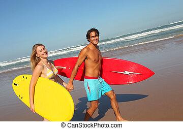 couple, plage, planche surf