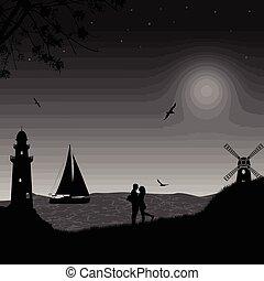 couple, plage, romantique
