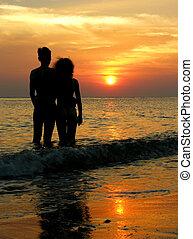 couple, plage., sunrise.