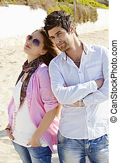 couple, plage., turc