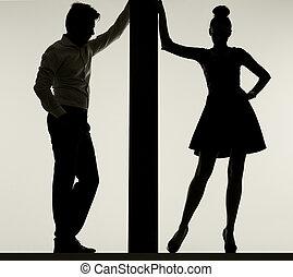 couple, planche, mince, contre, penchant