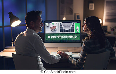 Couple planning an energy efficient house