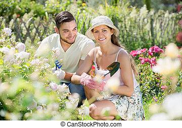 Couple planting garden plants