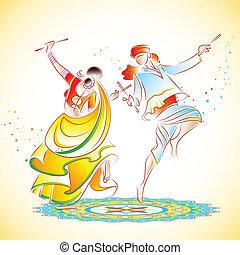 Couple playing Dandiya - illustration of couple playing...