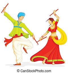 illustration of couple playing dandiya on white background