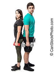 couple, poids, levage, ensemble