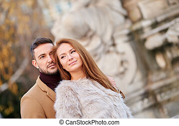 Couple portrait in the city