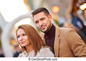 Couple portrait in the city
