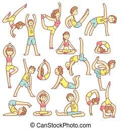couple, poses, yoga
