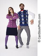 Couple posing in quite weird way