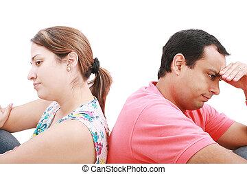 couple, préoccupé, jeune, white., isolé
