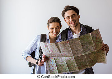 couple, prêt, voyager