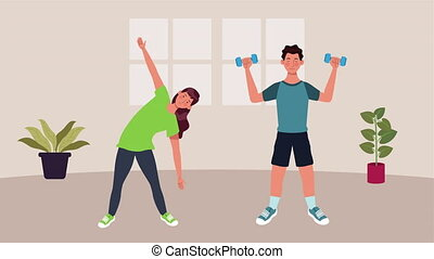 couple practicing exercise in home for covid19 prevention ...