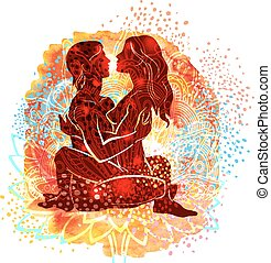 Couple practicing tantra yoga an watercolor background