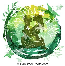 Couple Practicing Tantra Yoga Green Watercolor background...