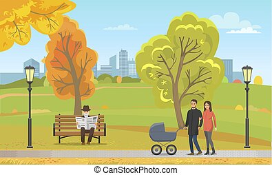 Couple Pram Walking Autumn Park Together Vector