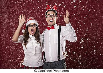 couple, premier, neige, choqué, nerd