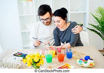 Couple preparing for Easter