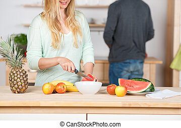 couple preparing healthy food