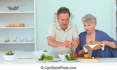 Couple preparing the dinner