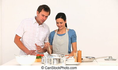 Couple preparing to cook together