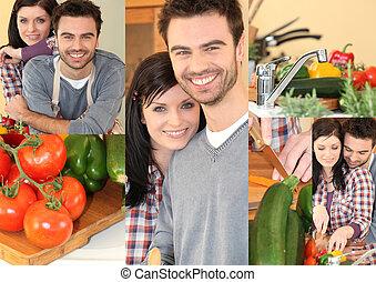 Couple preparing vegetables in kitchen