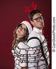 couple, problèmes, nerd, décoration, avoir, noël