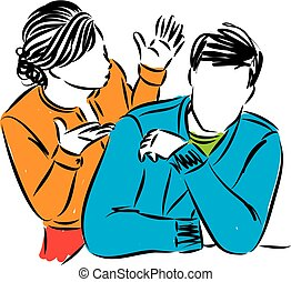 couple problems man and woman vector illustration