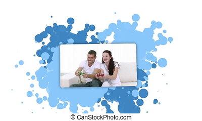couple, projection, playin, femme, jeune