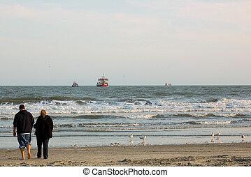 couple, promenades, ensemble, plage