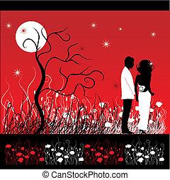 couple, promenades, sur, a, fleur, pré, soir
