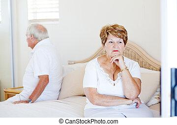 couple, question, personnes agées, relation