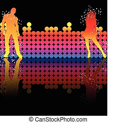 Sexy couple dancing on a rainbow background