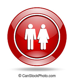 couple red web glossy round icon