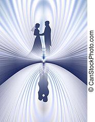 couple, reflet, mariage