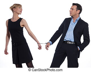 Couple Relationship - beautiful caucasian couple on studio...